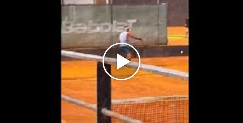Rafael Nadal practices on clay ahead of the tennis return