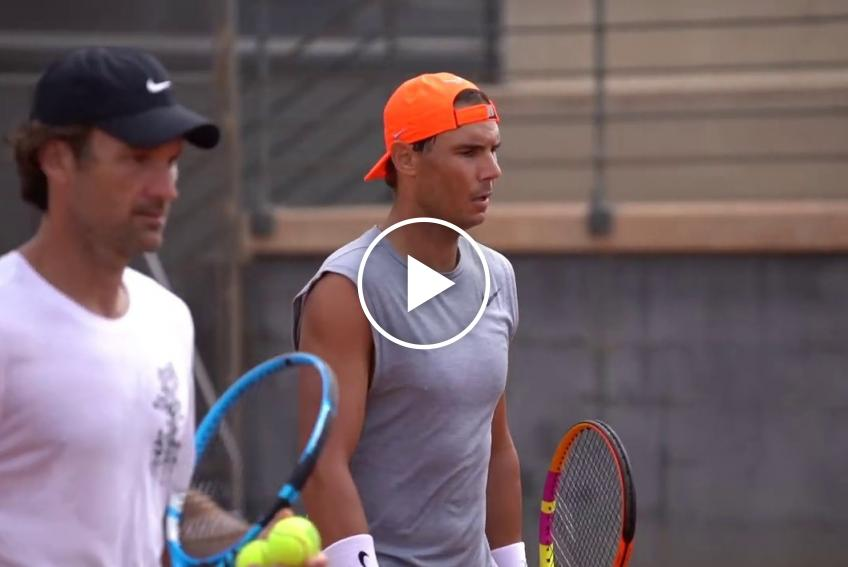 Rafael Nadal trains with Spanish teen Daniel Rincon at the Rafa Nadal Academy