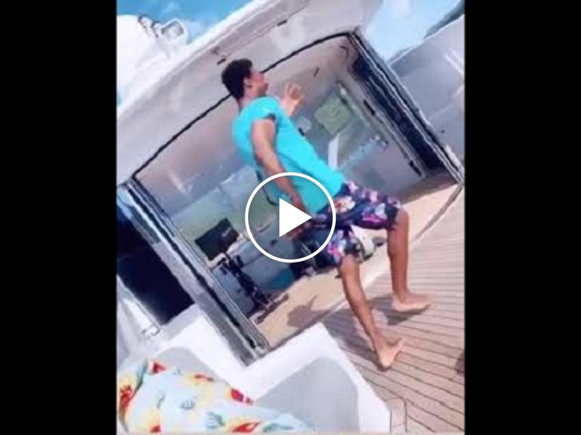 Gael Monfils shows off his dancing skills on a boat