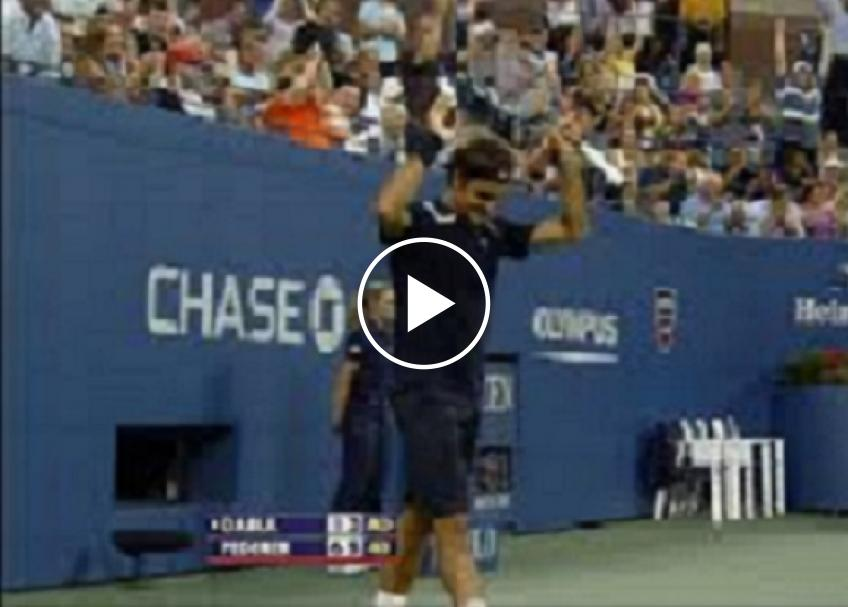 Federer, Nadal and Djokovic hit amazing trick shots at the US Open