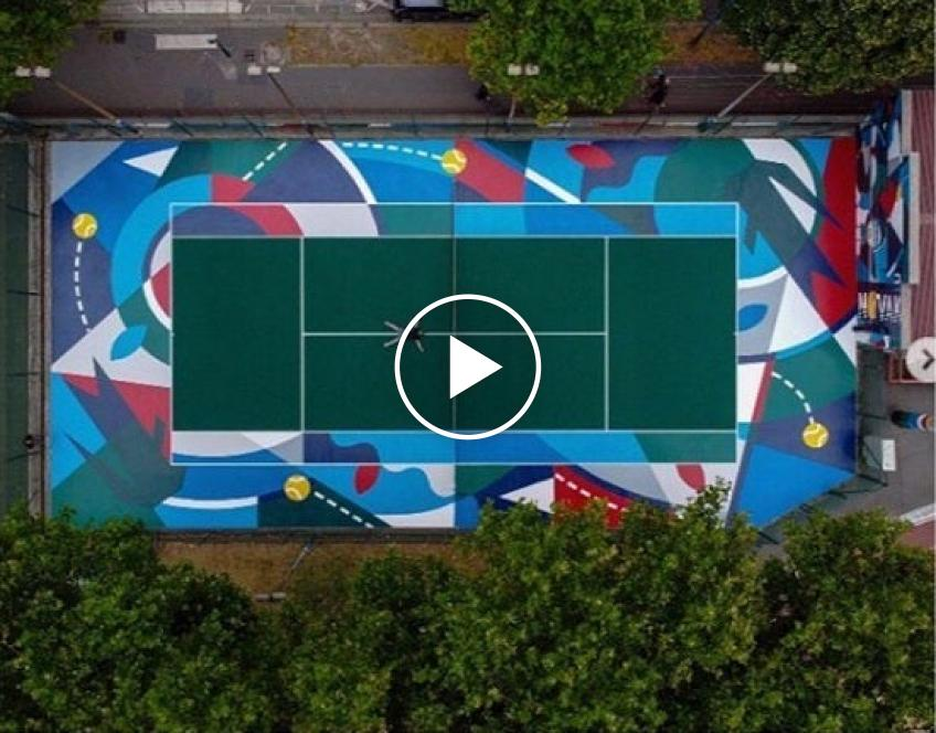 Watch an incredible piece of art on a tennis court dedicated to Novak Djokovic