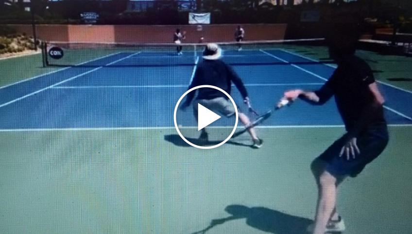 Andre Agassi and Darren Cahill play doubles in Las Vegas