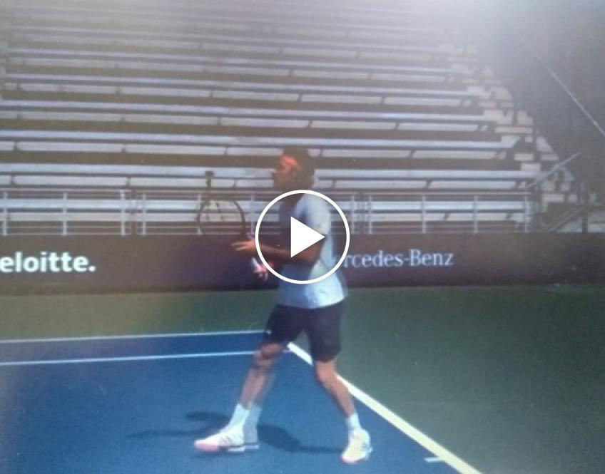 Stefanos Tsitsipas practices at Flushing Meadows ahead of the tour return