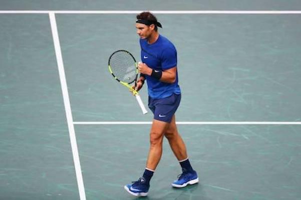 Rafael Nadal won against Pablo Cuevas during the third round of the Paris Masters