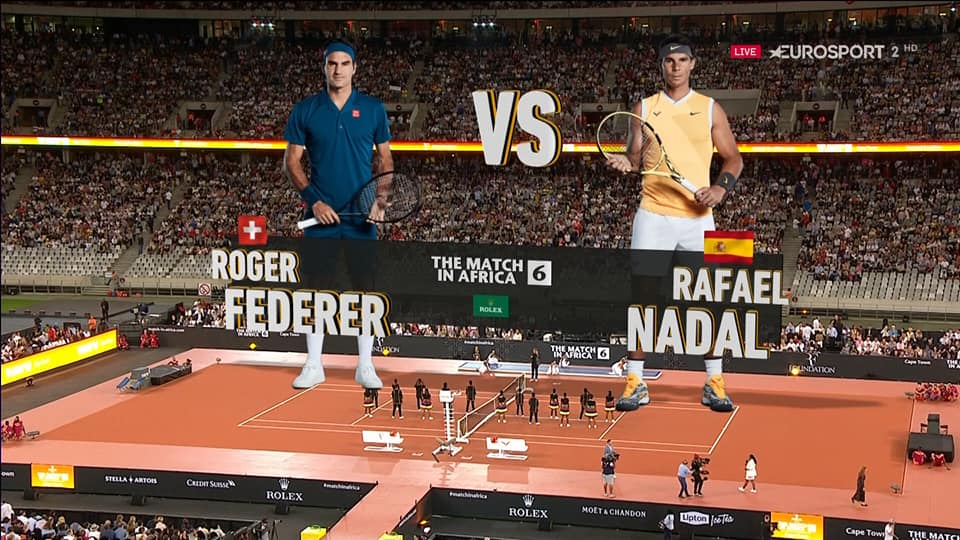Nadal and Roger during the single exhibition match