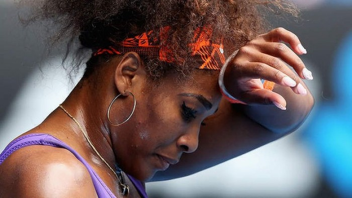 Serena Williams sweating
