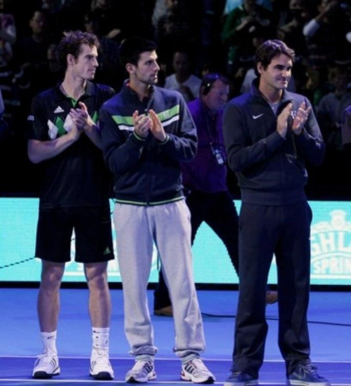 Andy Murray, Novak Djokovic and Roger Federer
