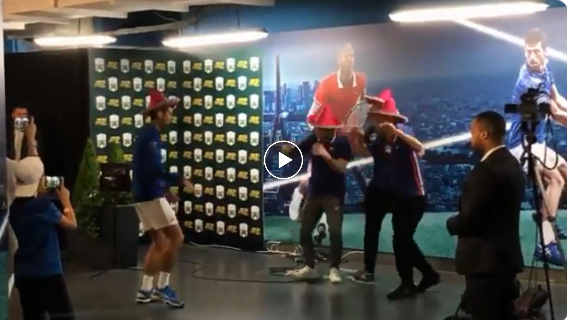 Djokovic and his team dance after Paris Masters win
