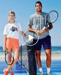Del Potro and Bouchard Play Tennis on Beach in Acapulco