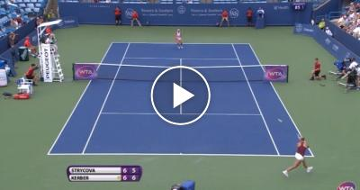 Kerber converts a set point in style - what a passing shot!