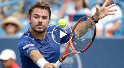 Wawrinka eats grapes launched by Dimitrov by car