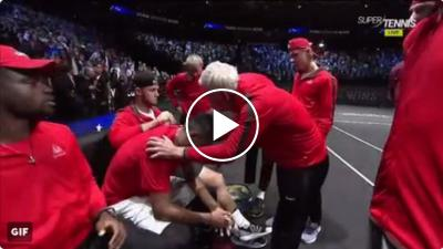 Kyrgios cries at the end of the match against Federer