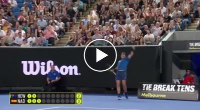 Nadal hits unbelievable passing shot. Djokovic's reaction says it all