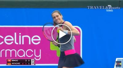Andrea Petkovic dances in mid-match - Kooyong Classic