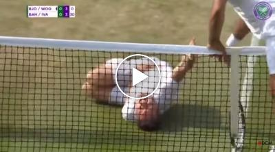 Jonas Bjorkman pretends to hurt himself like Neymar (Video)